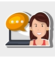 person communicating online isolated icon design vector image vector image