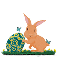 Rabbit hold easter egg vector image vector image