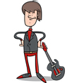 rock man with guitar cartoon vector image vector image