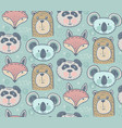 seamless pattern with cute animals hand vector image vector image
