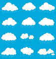 set cloud with rain smoke element decor isolated vector image