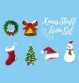 set of christmas stuff vector image vector image