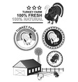 Set of premium turkey meat labels and stamps vector image vector image