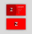 simple business card with initial letter bz vector image vector image