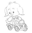 sketch a toy dog riding a toy truck coloring vector image vector image
