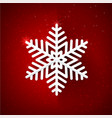 snow flake with glittering over dark red vector image vector image