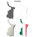 Tamaulipas blank outline map set vector image vector image