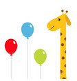 three balloons giraffe with spot zoo animal cute vector image