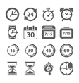 Time and Clock icons on white background vector image vector image