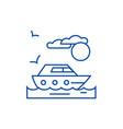 travel sea yacht line icon concept travel sea vector image vector image