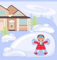 winter scene with children vector image vector image