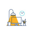working desk computer setup icon line outline vector image