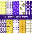 Yellow and lilac seamless patterns with dots vector image vector image