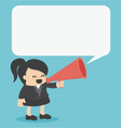 Business Woman with a megaphone and bubble vector image
