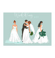 hand drawn abstract cartoon wedding hugging vector image
