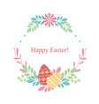 easter card on white background flowers plants vector image