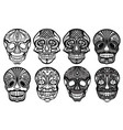 sugar skulls set vector image
