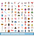 100 women shopping icons set cartoon style vector image vector image