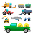 agricultural vehicles and harvester machine vector image vector image