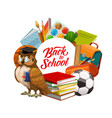 back to school owl with books and study supplies vector image vector image