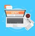 banner online news computer coffee newspaper vector image vector image