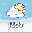 bashower cute clouds sun stars decoration card vector image