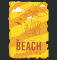 beach summer poster design with beach lounge deck vector image vector image
