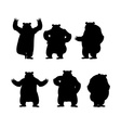 Bear set silhouette Grizzly various poses vector image vector image