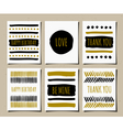 black gold and white hand drawn greeting cards set vector image vector image