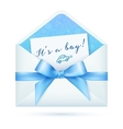 Blue baby shower envelop with bow vector image