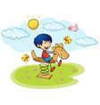 Boy playing on rocking horse vector image vector image