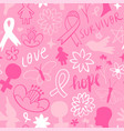 breast cancer pink flower doodle background vector image vector image