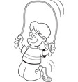 Cartoon girl jumping rope vector image