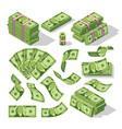 cartoon money bills green dollar banknotes cash vector image vector image