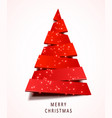 christmas tree made of red paper on white vector image vector image