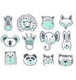 collection of cute animal heads for baby vector image vector image