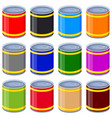 colorful cartoon tin can mock up set vector image