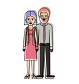 couple in watercolor silhouette and her with vector image