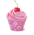 cupcake with cherry realistic 3d vector image vector image