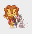 cute lion doodle cartoon vector image vector image