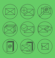 E-mail thing line icons set vector image vector image