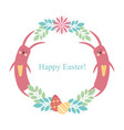 easter round frame rabbit flowers plants eggs vector image