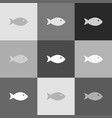 fish sign grayscale version vector image vector image