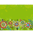 hand draw flowers on green background vector image vector image