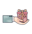 hand holding a gift box in colored crayon vector image vector image