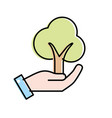 hand with ecological and natural tree icon vector image vector image