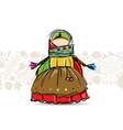 handmade folk doll mascot sketch for your design vector image vector image