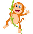 happy monkey swinging vector image vector image