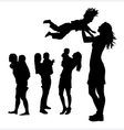 Happy parent with son silhouettes vector image vector image