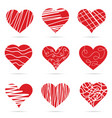heart red set art vector image vector image
